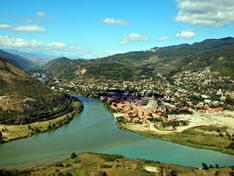 Мцхета, место слияния рек Куры и Арагви (Грузия)